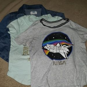 Old Navy girls denim jacket and 2 tees